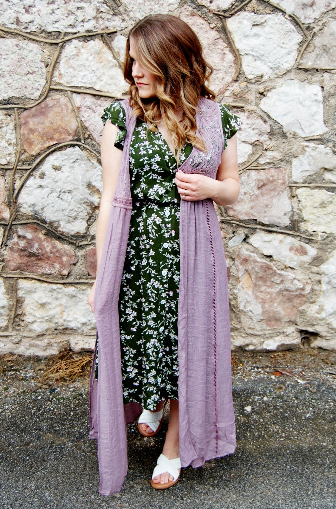 Kori Brand full length duster kimono.  Lavender bohemian cover up.  Swim suit cover up.