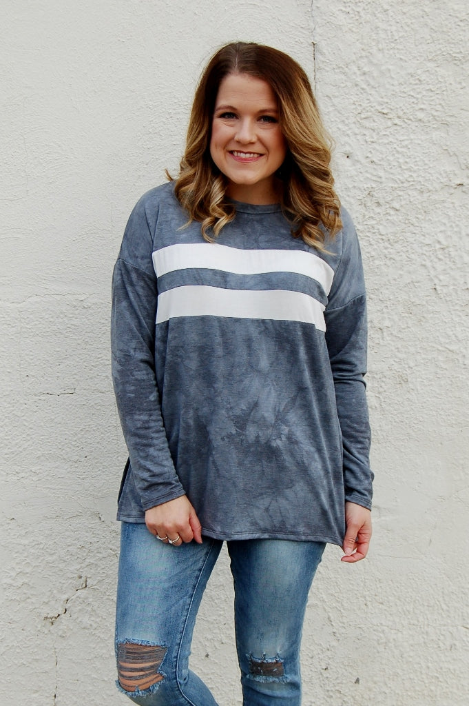 Retro Vibes Charcoal Pullover Top