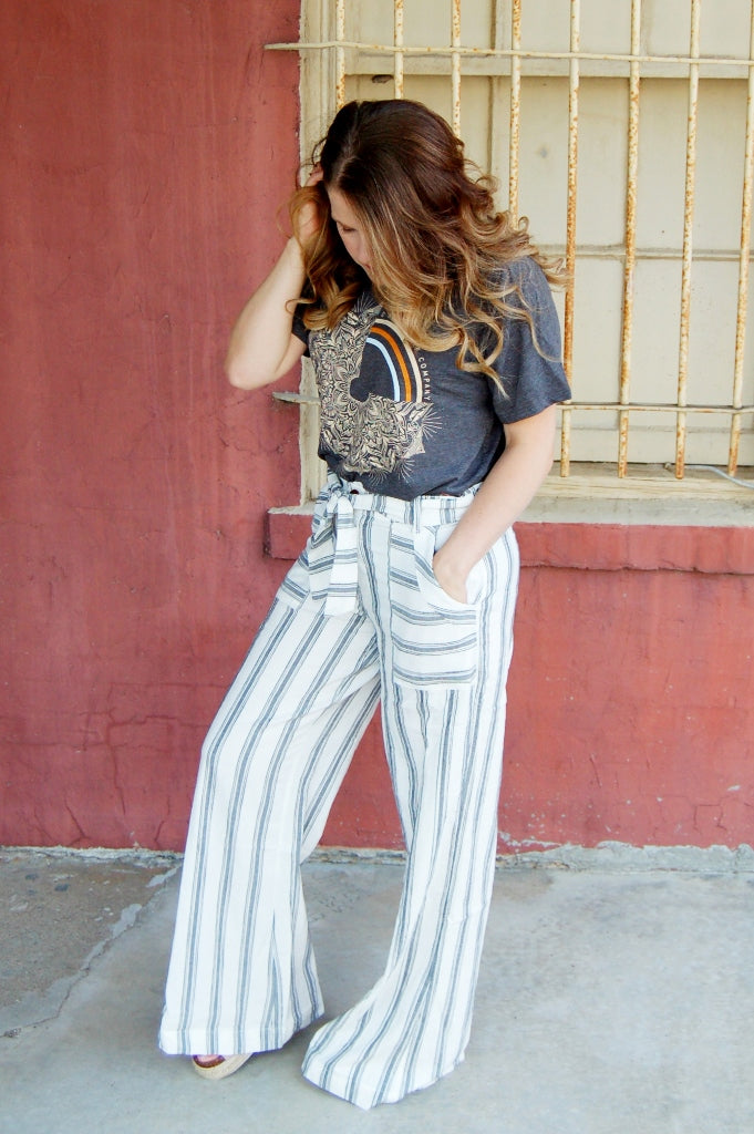 Sandoval wide leg trouser pants by o'neill.  Vacation beach pants.  Palazzo pants.  Striped wide leg pants.  linen pants.  self tie belted pants.
