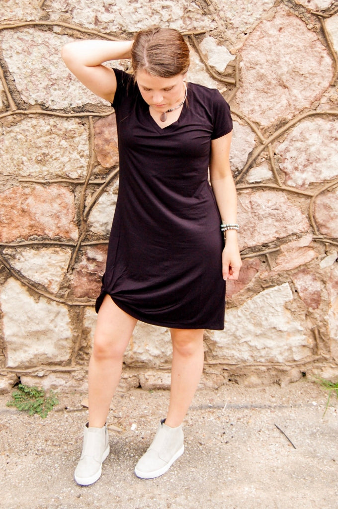 Another Love Hope side knot black dress.  little black dress.  casual black dress.  black tee shirt dress.  side knot dress.