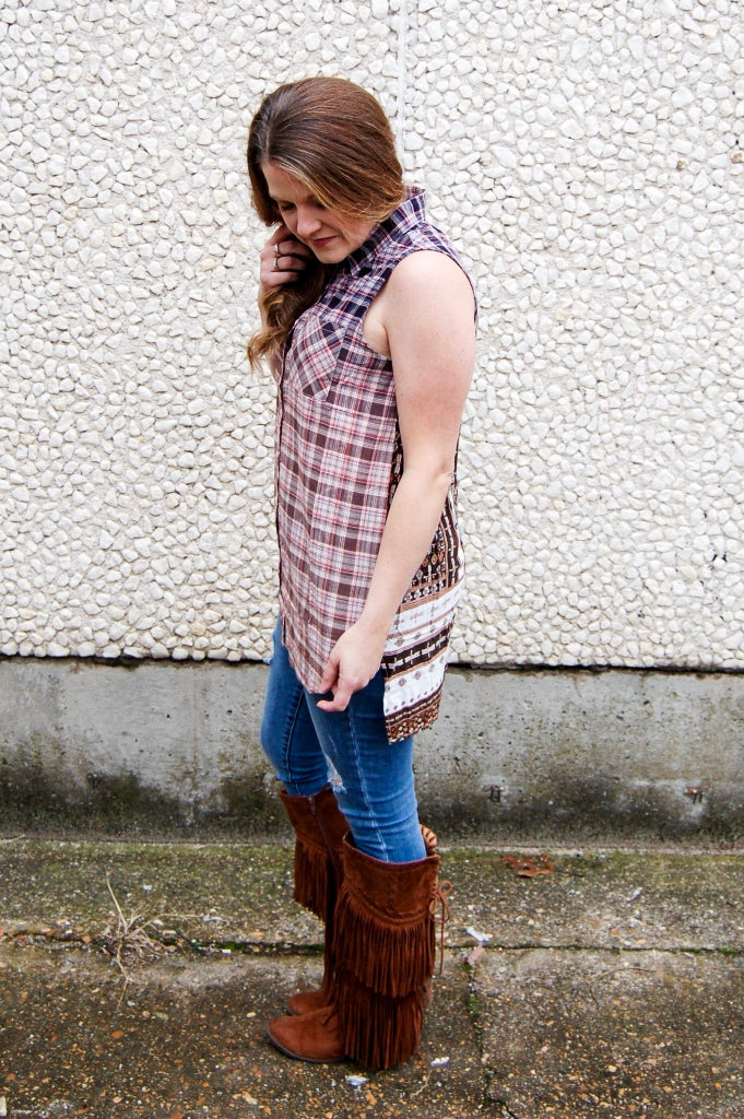 Ombre Plaid Button Down Top - Kade & Cate