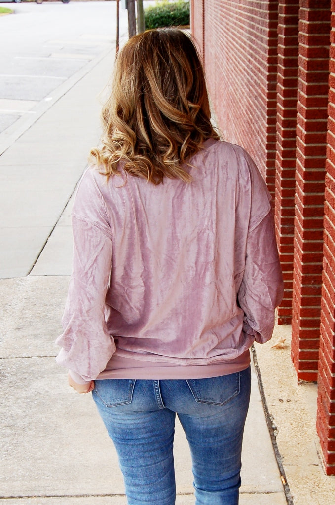 Mauve Velour Bubble Sleeve Top
