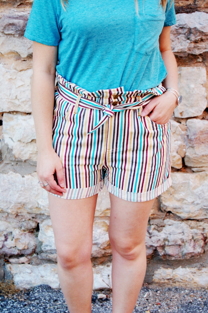 Striped high rise paperbag waist shorts with self tie belt.  Retro vintage inspired bohemian summer shorts.