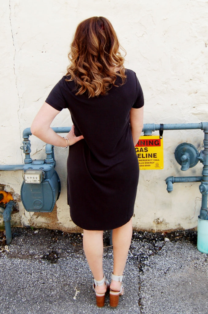 Black Crew Neck Dress - Kade & Cate