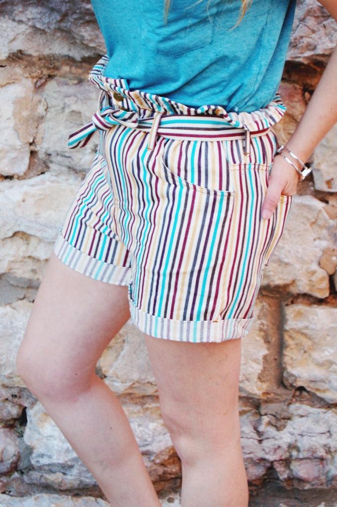 Jade Striped Paperbag Waist Shorts