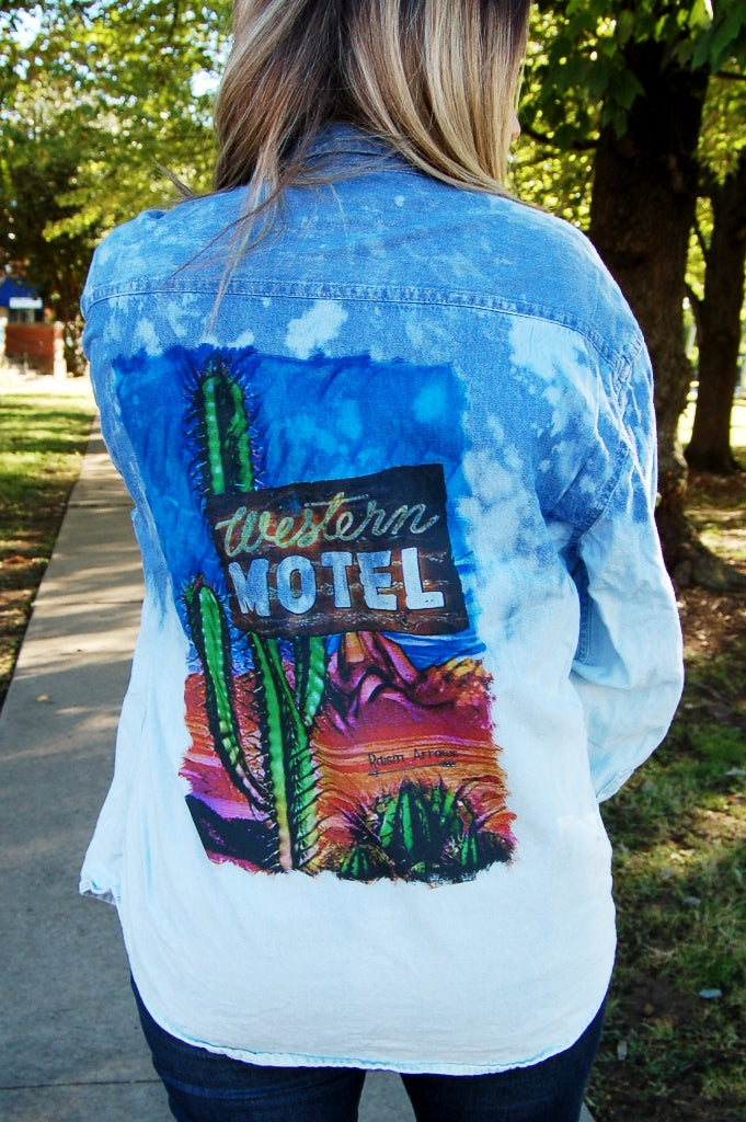 Bleached distressed Bohemian western style denim button up.  Western motel vintage denim top.