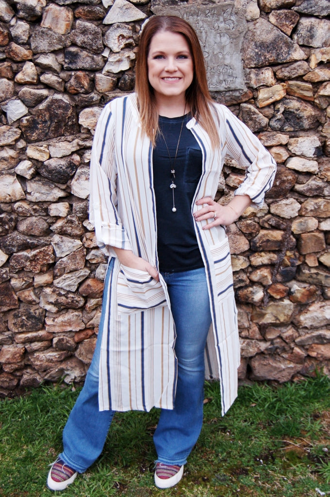 Long Time Gone Striped Cardigan