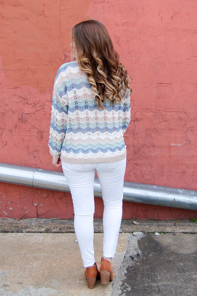 Mint Mix Chevron Loose Knit Sweater - Kade & Cate
