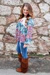 Paisley & Floral Print Blocked Babydoll Top - Kade & Cate