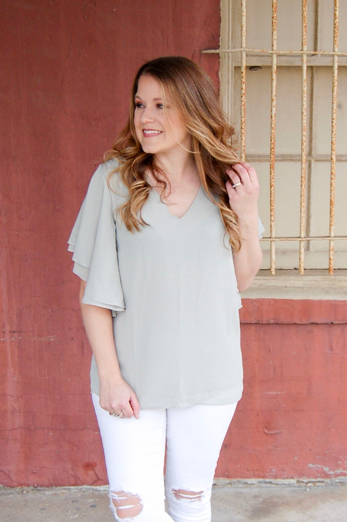 Light Sage Double Layer Chiffon Top - Kade & Cate