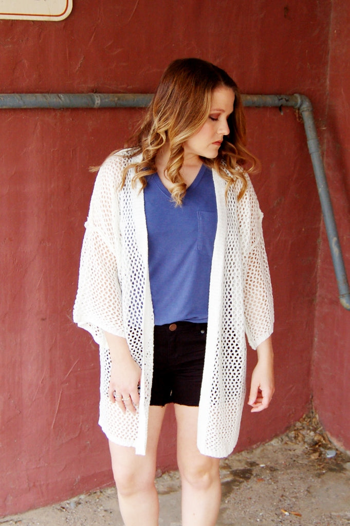 Salty Breeze Open Weave Cardigan
