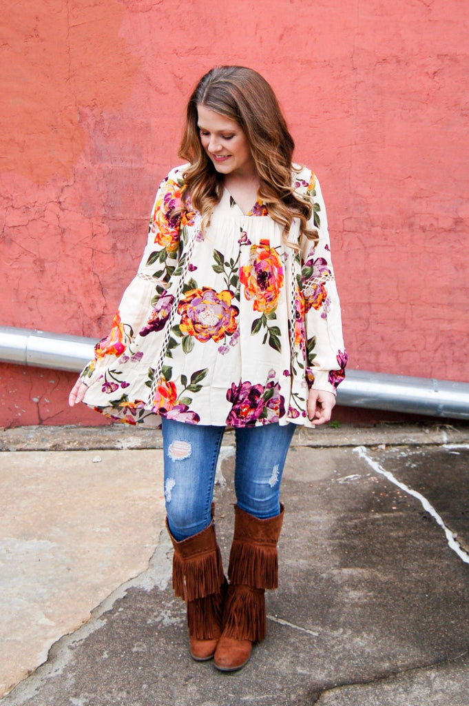 Sweet Floral Print Swing Tunic Top - Kade & Cate