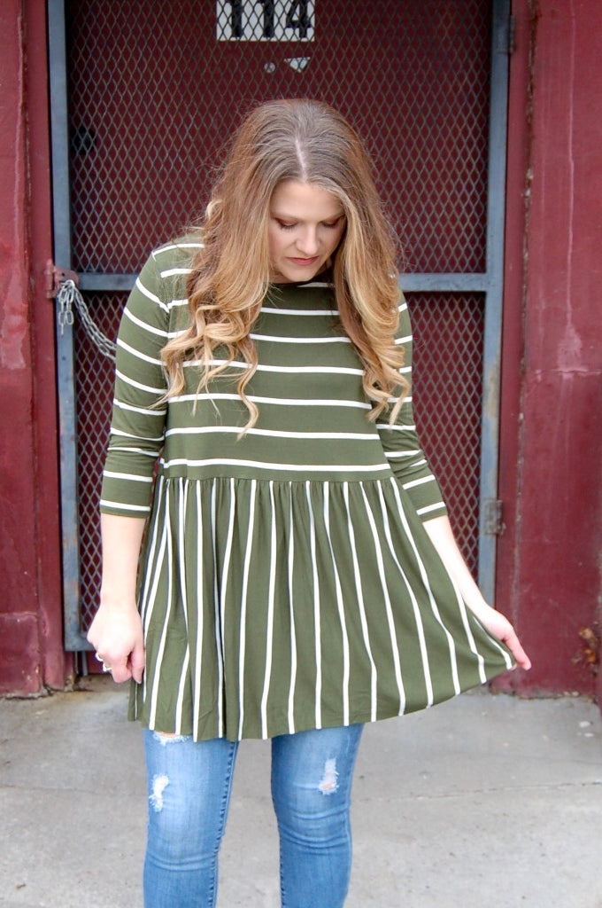 Chive & Ivory Striped Tunic - Kade & Cate