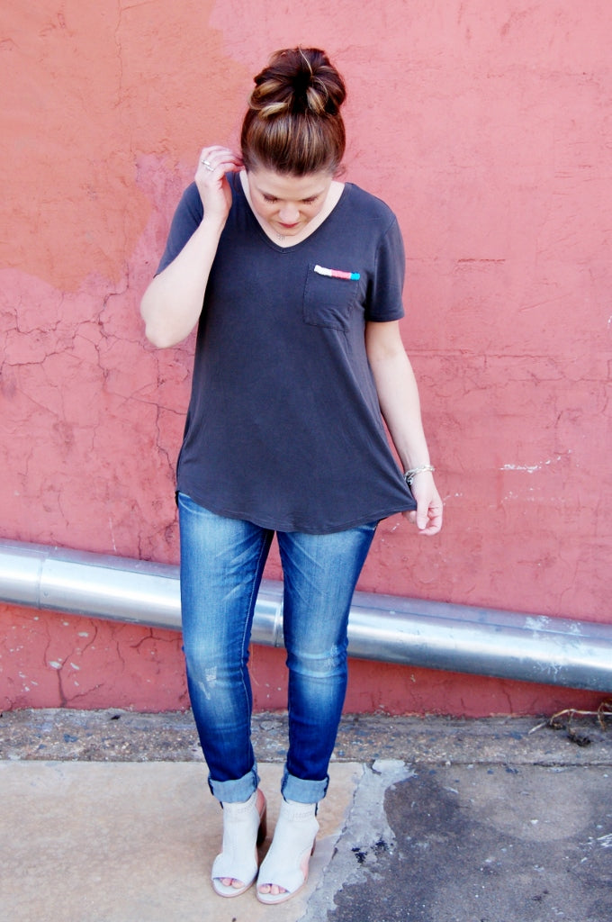 Suki V-Neck Tee with Embroidered Pocket