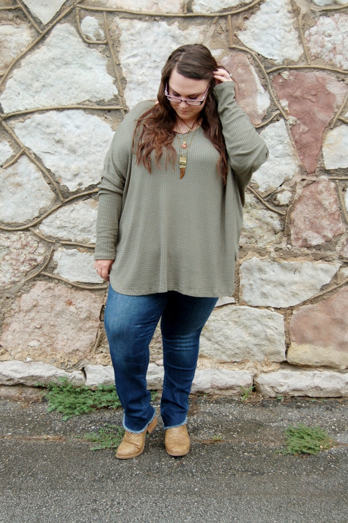Olive waffle knit top with loose dolman sleeve.  Plus size top.  Plus size bohemian.  Entro plus.