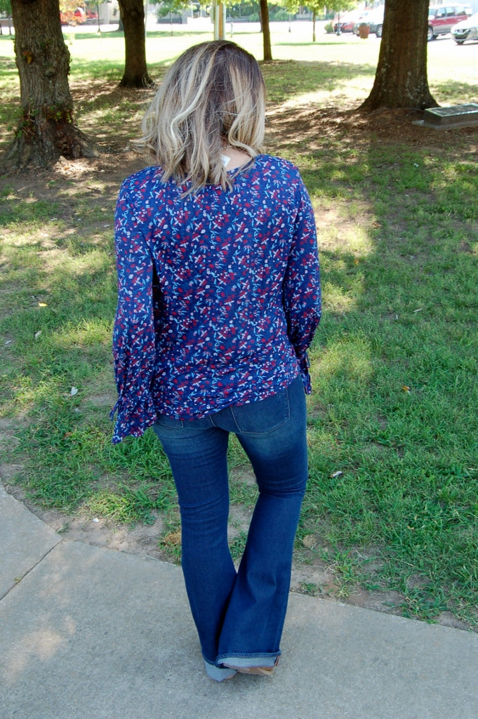 Floral Print Bell Sleeve Top - Kade & Cate