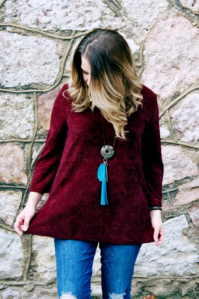 Burgundy Textured Top - Kade & Cate