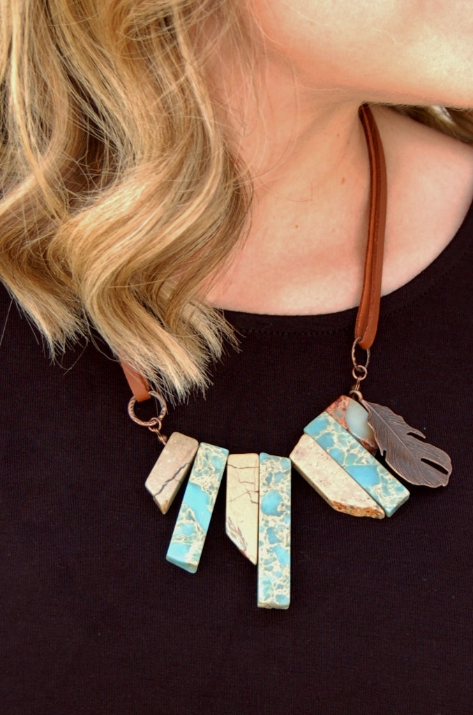 Aqua Terra & Copper Feather Necklace - Kade & Cate