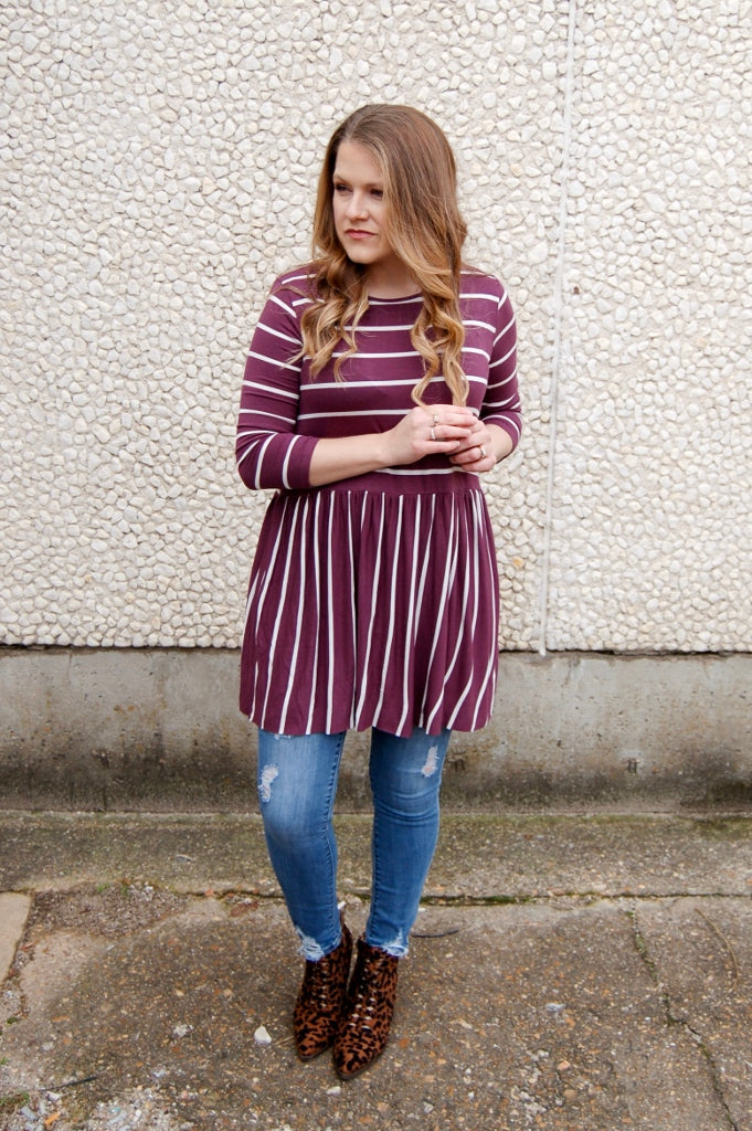 Eggplant & Ivory Striped Tunic - Kade & Cate