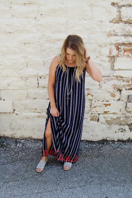 Bohemian full length maxi dress with embroidered detail.  THML maxi dress.  Simply Sophisticated maxi dress.