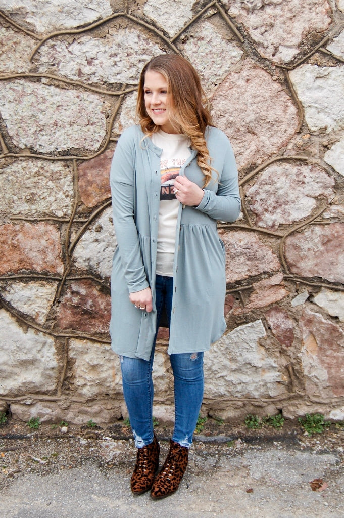 Light Green Button Down Cardigan - Kade & Cate