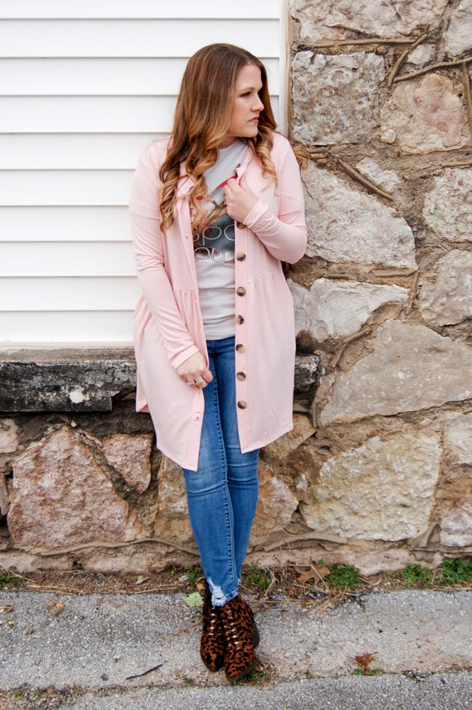 Dusty Coral Button Down Cardigan - Kade & Cate