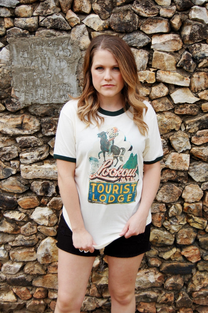 Retro ringer tee.  Vintage inspired graphic tee.  Lookout motel tourist lodge tee.  Gina's Tees.