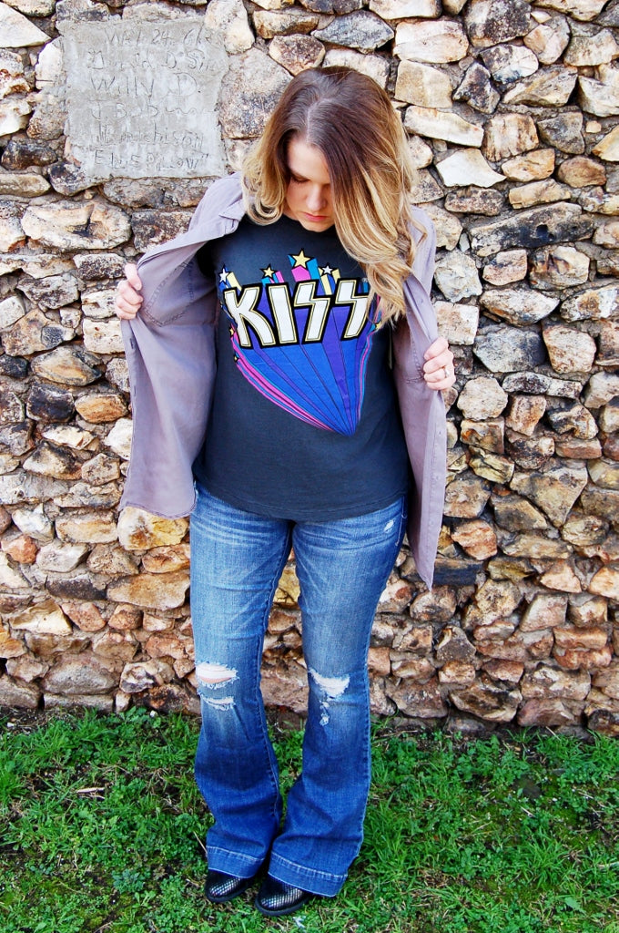 Lucky Brand flocked retro Kiss band tee.
