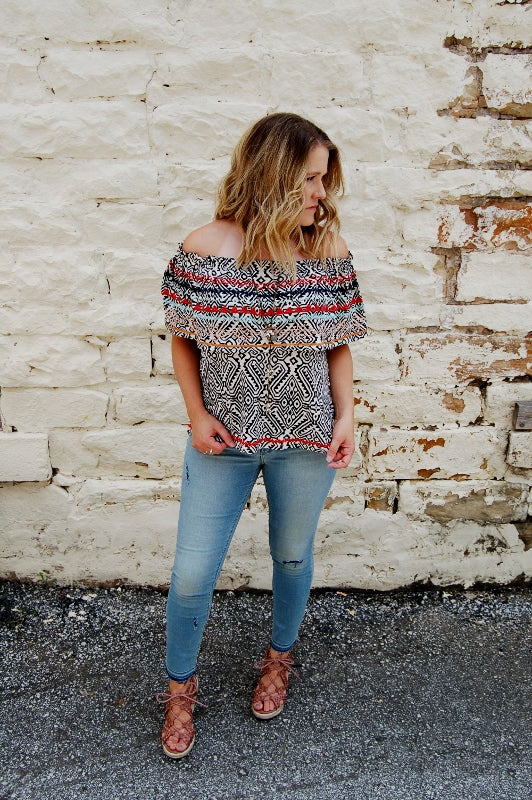 It's a Fiesta Off Shoulder Top - Kade & Cate