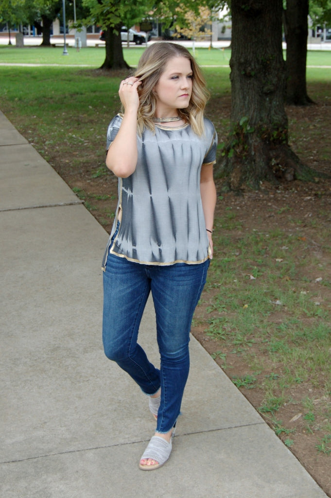 Libby Story bohemian style tie dye top with metallic gold detail and choker neckline.