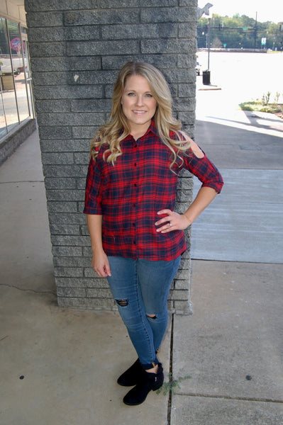 PPLA  button up plaid top with cold shoulders.  PPLA flannel.  100% cotton.  High end flannel.