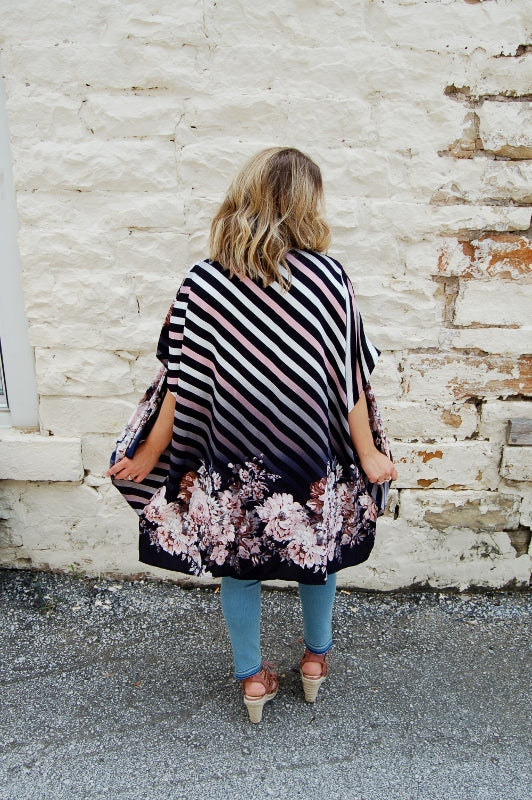 Striped With Flowers Kimono