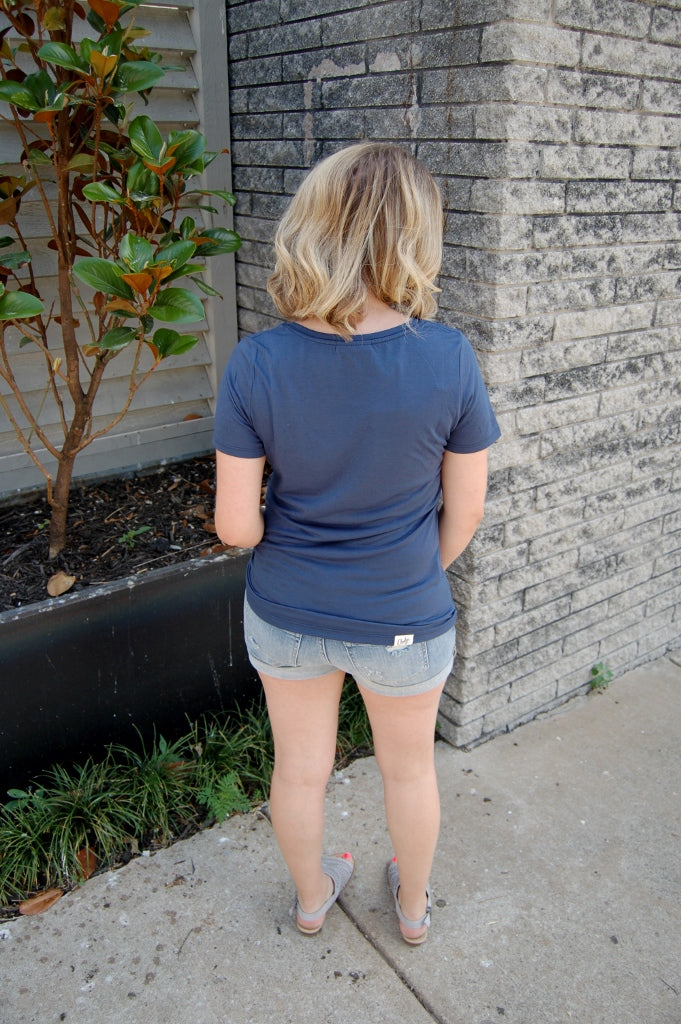 Navy Sequin Pocket Tee - Kade & Cate