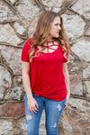 Dark Red Caged Top - Kade & Cate
