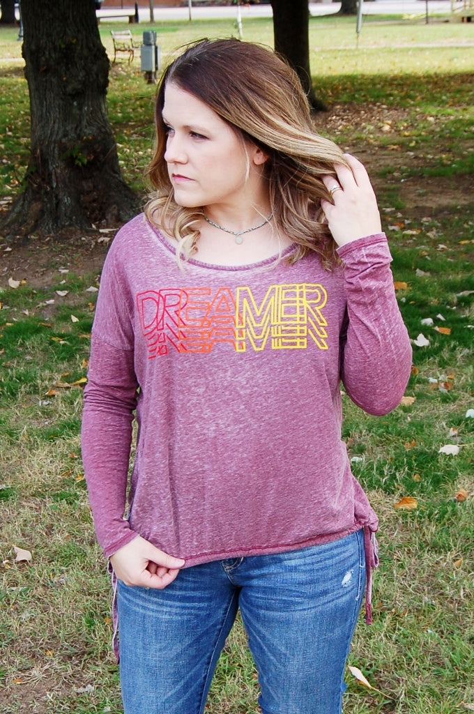 Dreamer Graphic Burnout Top - Kade & Cate