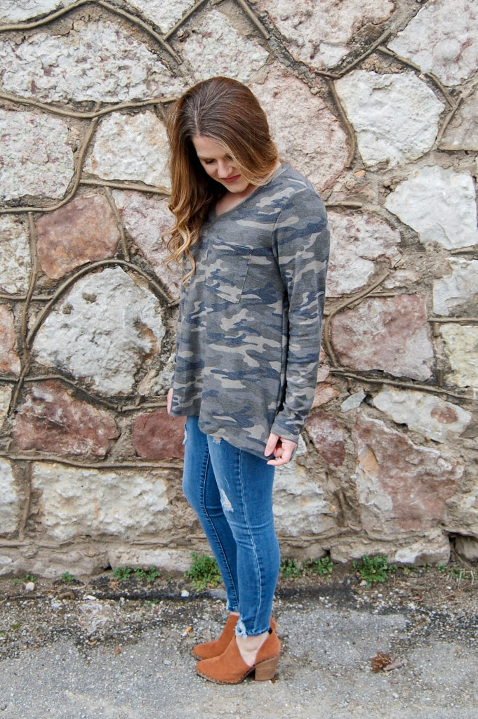 Hiding Out Camo Long Sleeve Tee - Kade & Cate