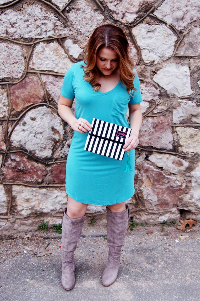 Sea glass solid tee shirt dress by Another Love.  Soft stretchy casual solid shift dress.