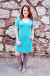 Sea Glass Short Sleeve Tee Shirt Dress