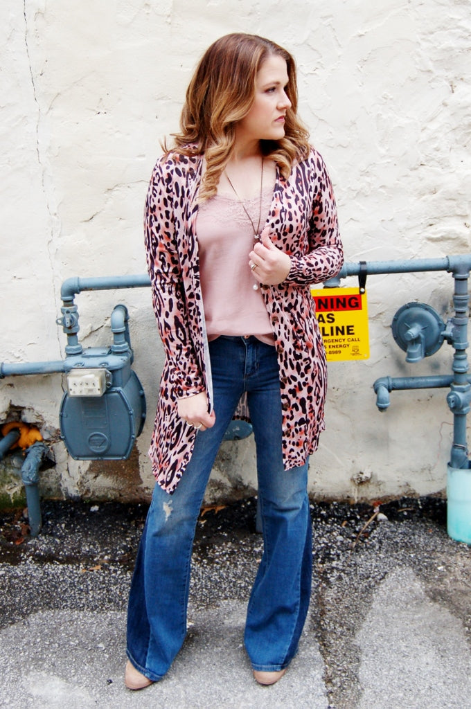 Leopard  print button down cardigan.