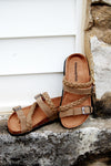 Kids summer slip on sandal.  Kids Birk inspired sandal.  children's birkenstock inspired sandal.  Braided strappy sandal for kids.