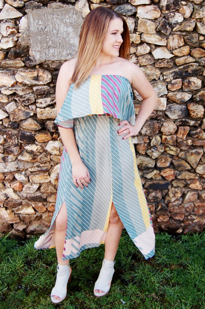 O'Neill Koi striped color block strapless summer dress.  Bohemian summer dress.