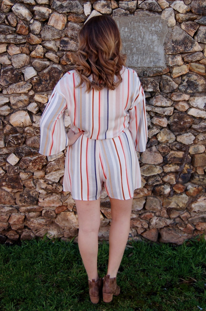 Been There; Done That Striped Romper - Kade & Cate