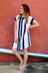Navy and mustard vertical stripe boyfriend style dress.  Loose button down dress.  Office wear.  Bohemian style dress.  Kori collared tunic dress.