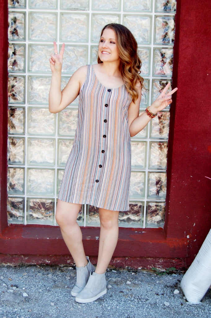Bohemian striped summer dress.  Sadie & Sage lightweight shift dress.  Vertical stripe dress.  Boho festival dress.