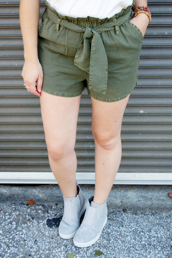 Washed Ivy High Rise Paperbag Shorts