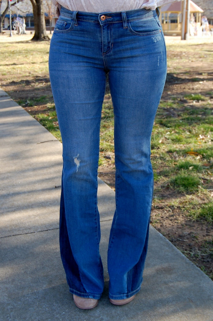 Contrast Panel Flare Jeans - Kade & Cate