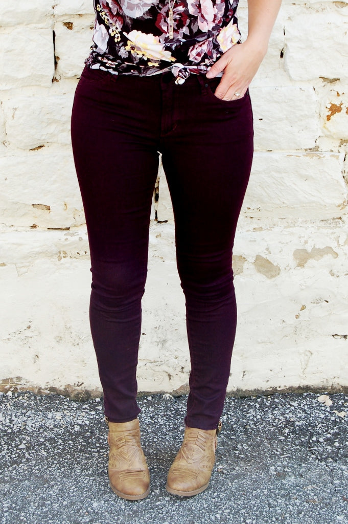 Articles of Society Sarah release hem ankle skinny jeans.  Colored skinny jeans.  Eggplant purple skinny jeans.