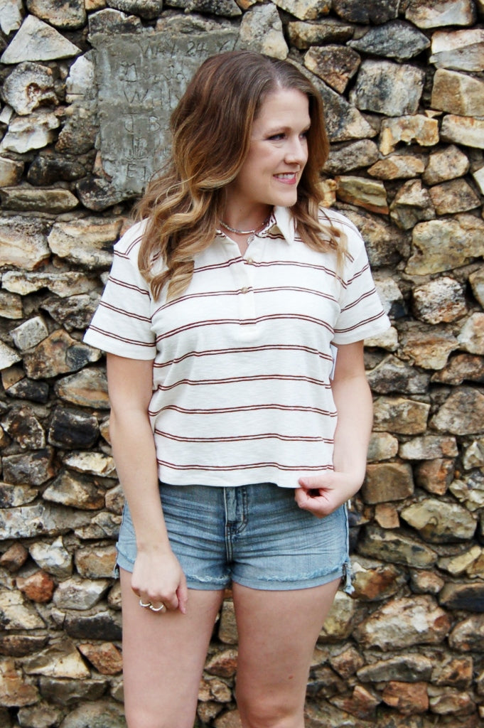 O'neill collared striped crop top.  Ace crop top.  longer length crop top.  preppy crop top. Retro o'neill style.  socal collared crop.