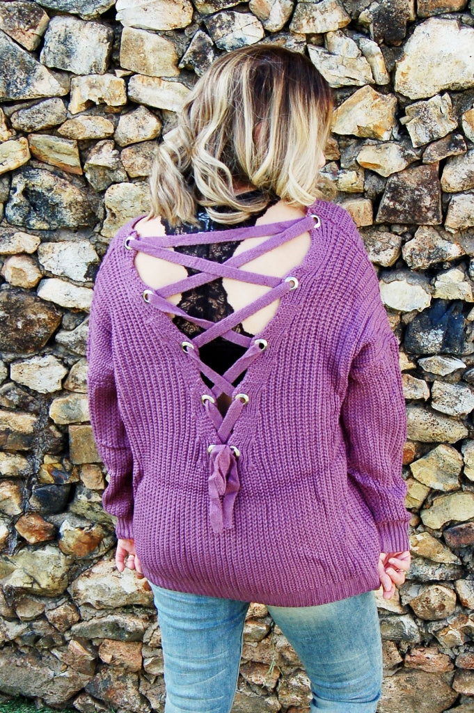 6f8a544e01 Lilac Lace Up Sweater - Kade   Cate