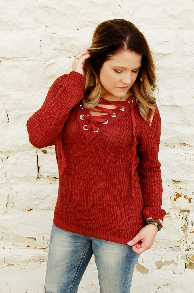 Rust Lace Up Sweater